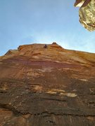 Rock Climbing Photo: Steven Lucarelli nearing the anchors on the first ...