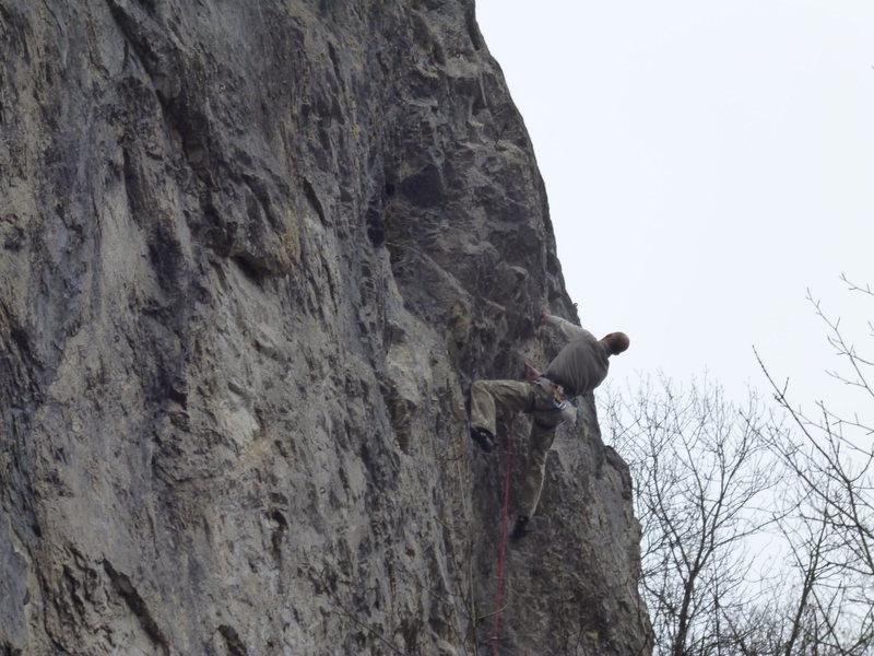 Rock Climbing Photo: Tom on Peche Au Kiwi 7b, Pucelles, Roche de Freyr,...
