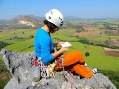 Rock Climbing Photo: Shirley signing the summit register atop Easter Is...