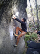 Rock Climbing Photo: Start of Is V7 in Icicle Creek