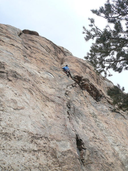 Keith Erickson swiftly leading &quot;Welcome To Planet M.F.&quot;.<br> A 5.10a**** route on Lost Piton Rock.
