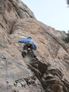 """Rock Climbing Photo: Keith near crux area of """"welcome to Planet M...."""