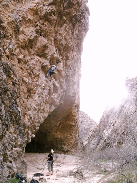 Rock Climbing Photo: Leading the awesome unkown 11b at The Swamp Cave