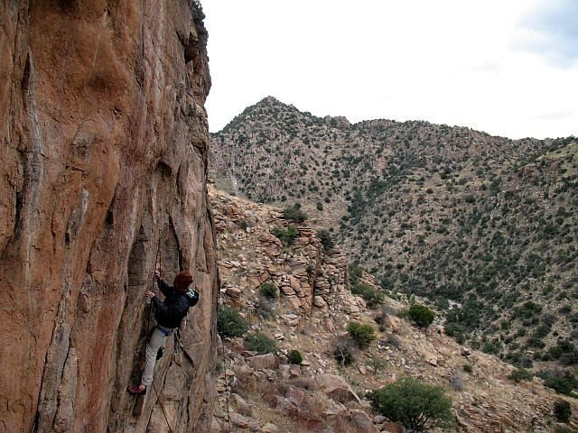 Rock Climbing Photo: Tim on Sun Dialed (5.11c), Mt. Lemmon