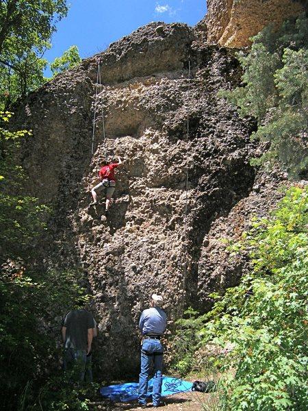 Rock Climbing Photo: Head left of the big hole