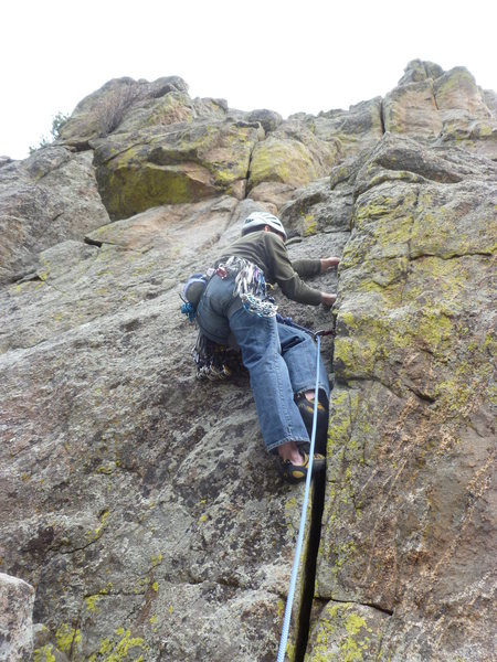 Rock Climbing Photo: Starting the crack to the left of the bolts.