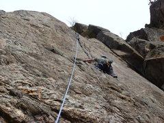 Rock Climbing Photo: On the upper crack.