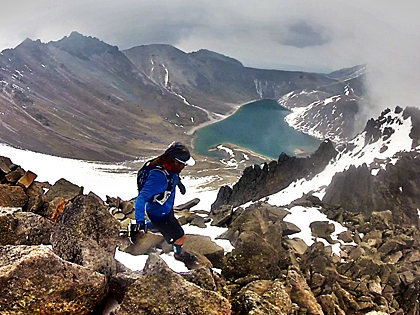 Coming down from Nevado de Toluca's summit (4,680 m) during a day of alpine running above 4,000 meters, Estado de Mexico, Mexico.<br> <br> Photo by Marcos Ferro.