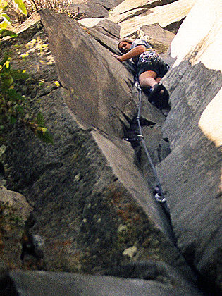 "Off-widths: Easy to get in, hard to get out..., ""Las Dalias"" (5.8), La Coconetla, Mexico City, Mexico. (1999)"