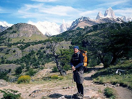 A beautiful day hiking Cerro Torre's trail, in rare excellent weather conditions, Patagonia, Argentina.