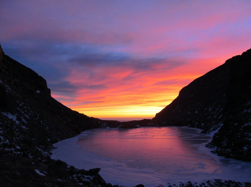 Sunrise over Chasm Lake.