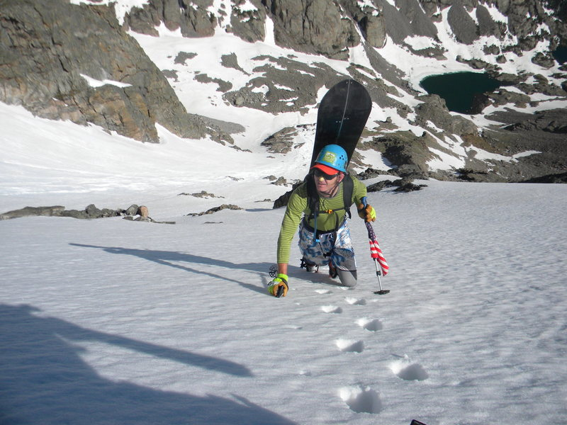 Aaron Miller climbing great snow on PT snowfield.