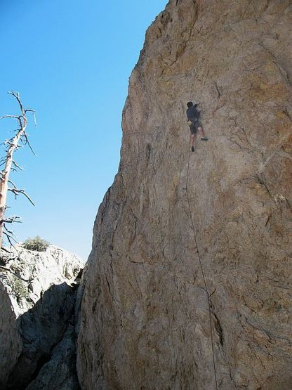 Just below the anchors on The Hired Gun (5.11a), Williamson Rock