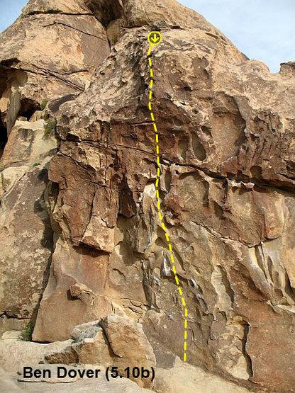 Rock Climbing Photo: Ben Dover (5.10b), Joshua Tree NP