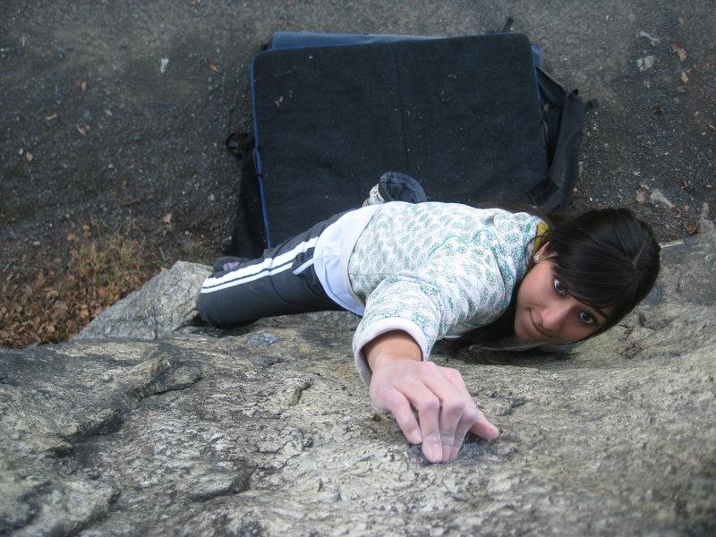 Amrita hits the crimp on Blasted Rock Slab.