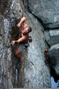 Rock Climbing Photo: Mike Carville mid way up on 5 Minute Hero .12- Eme...