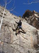 Rock Climbing Photo: Steve Thomas leading Doc's Route.