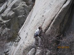 Rock Climbing Photo: At the Crack to the right and below the first bolt