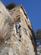 Rock Climbing Photo: Eva starting up Bock!