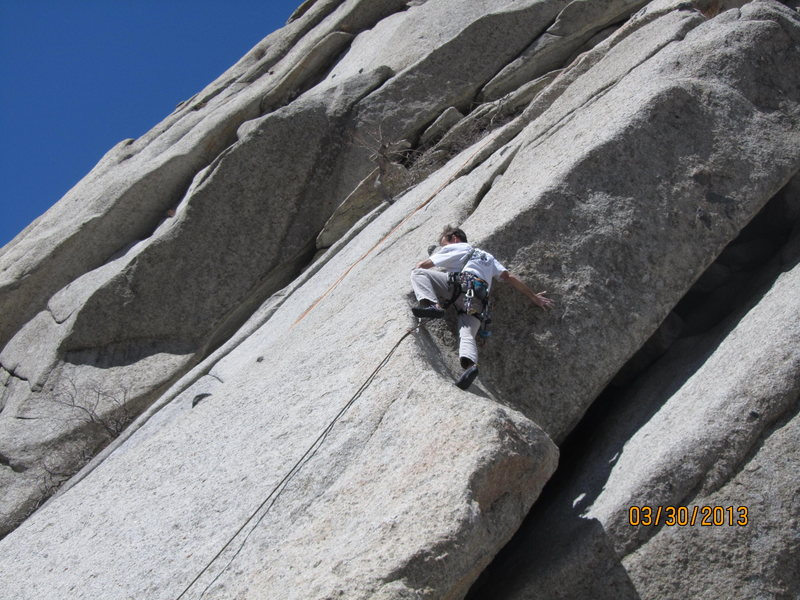 Cary Siteman stepping out above the 3rd bolt on Errant Edge