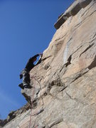 Rock Climbing Photo: Leading the Arete.  Photo by Eva R.