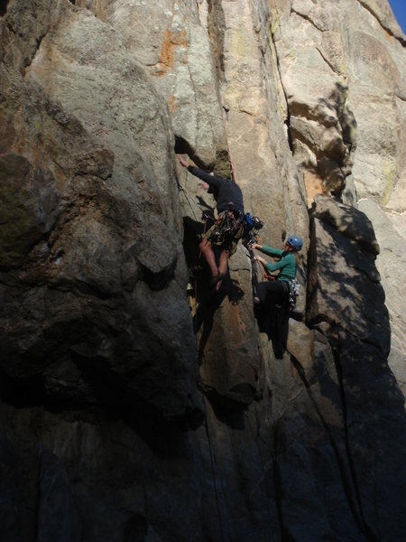 Rock Climbing Photo: Logging a little airtime at the crux.
