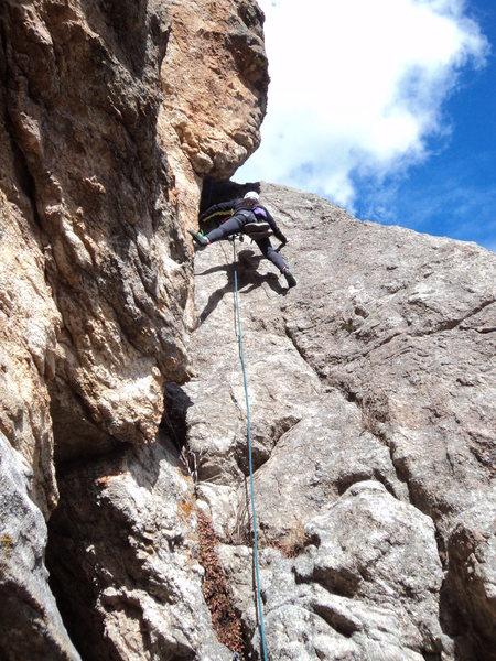 Rock Climbing Photo: Kira just below the slot/chimney feature.