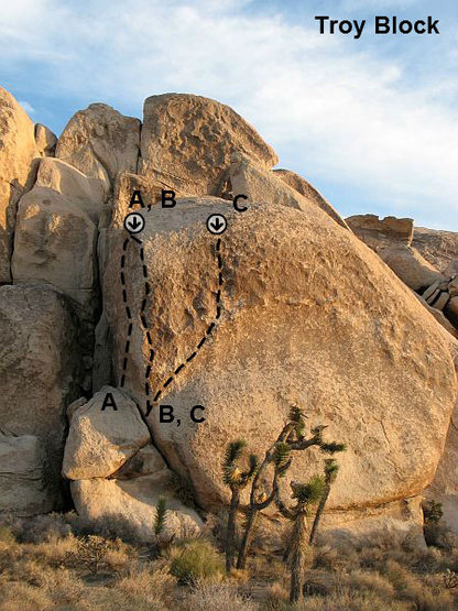 Photo/topo for the Troy Block, Joshua Tree NP<br> <br> A. Love Goddess (5.12a)<br> B. Moonshadow (5.12c)<br> C. La Cholla (5.12d)