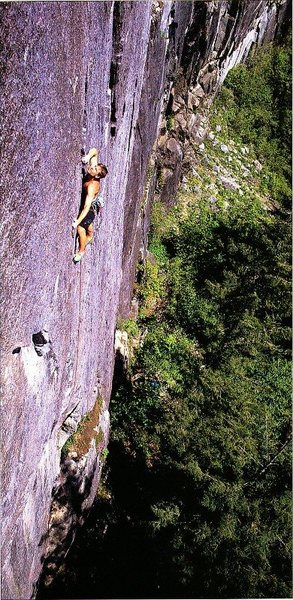 Max Dufford on Heart's Desire (5.12b), Index Town Walls. Photo by Larry Kemp (1990).