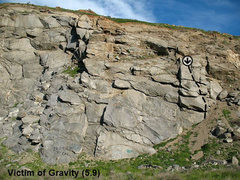 Rock Climbing Photo: Victim of Gravity (5.9), Riverside Quarry