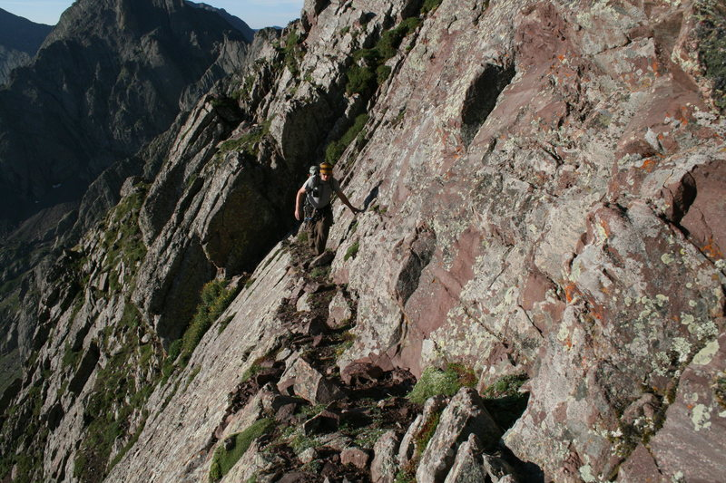 Ledge traverse on Crestone needle