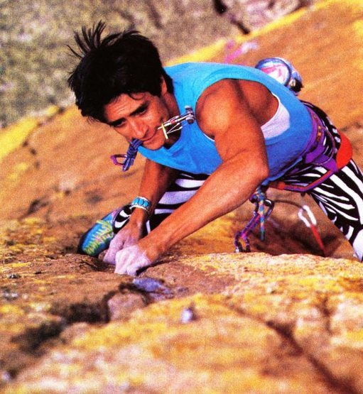 John Duran on <em>A Date with Death</em> (5.13c), Sandia Mountains <br> <br> Photo by David Benyak (1988)