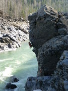 "Rock Climbing Photo: FA of ""Slip-and-Slide"" 5.10c/d Hagwilget..."