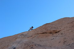 Rock Climbing Photo: Moving past 3 bolt on Double Dip, Echo Rock, JTree