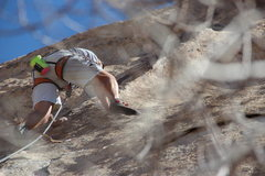 Rock Climbing Photo: Moving past the crux