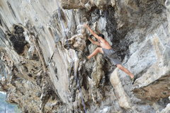 Rock Climbing Photo: Pic of Zac stretching to make the crux. This is mu...