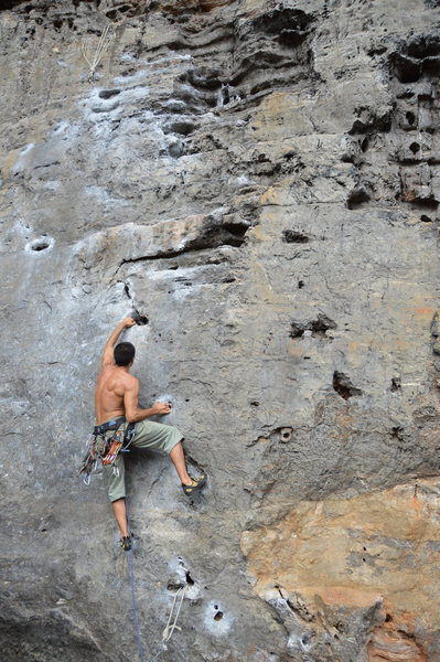 Rock Climbing Photo: Bertrand pulling on pockets!!