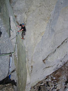 Rock Climbing Photo: David S. coming up to the second pitch hand traver...
