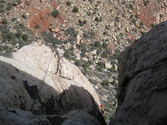 Rock Climbing Photo: Peter following my questionable variation of p3.  ...