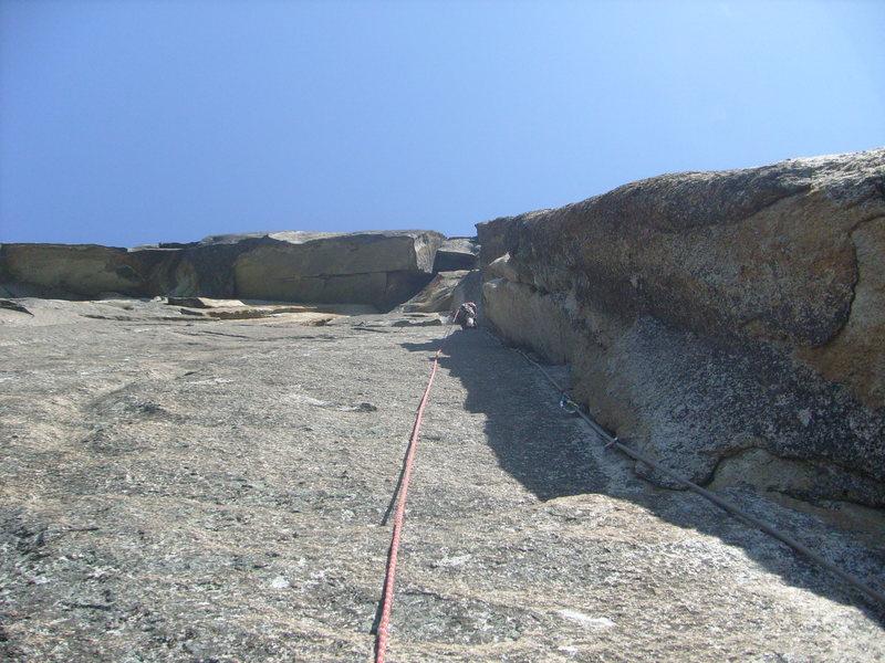 Rock Climbing Photo: P5 (Crux), bring 2 talon hooks, cam hooks and tiny...