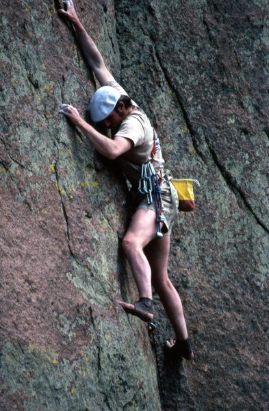"Henry Barber starting up ""Reinhold Messner's Delight"" on Turkey Rock in 1980s."