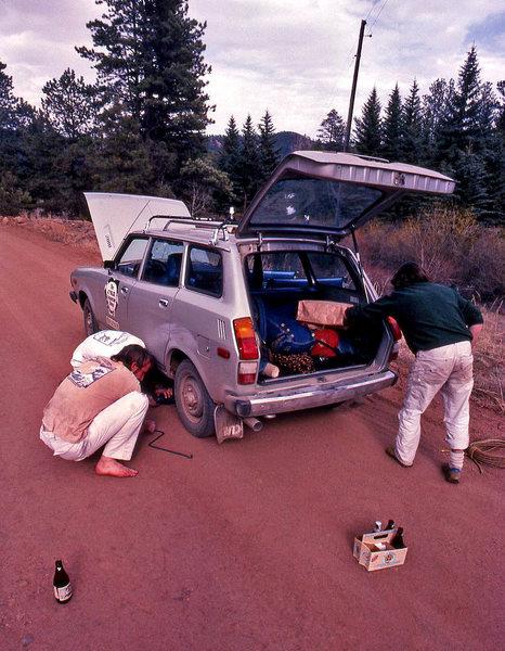 Rock Climbing Photo: Henry Barber and Dennis Jackson change the Suburu ...