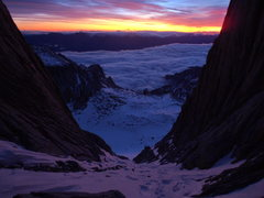 Rock Climbing Photo: Sunrise on the MR of Mt. Whitney. Jan '12.
