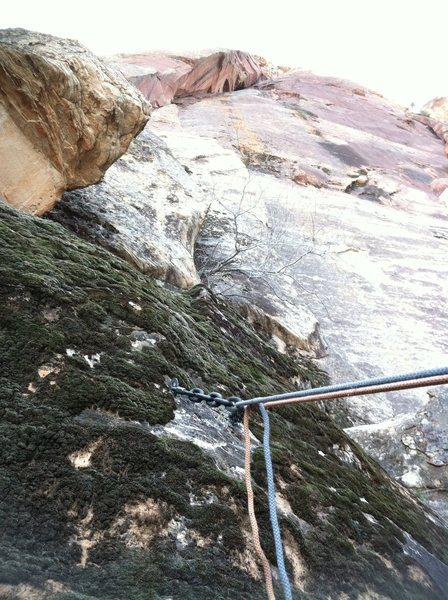 Rock Climbing Photo: Rap location at the base of the route to avoid dow...