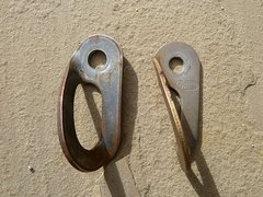 Rock Climbing Photo: New (left) and old (right) style SMC bolt hangers....