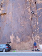 Rock Climbing Photo: Climbing at Wall Street, Moab. Pinhead Trad 5.10b