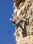 Rock Climbing Photo: Jes Meiris cranking through the mid-section.