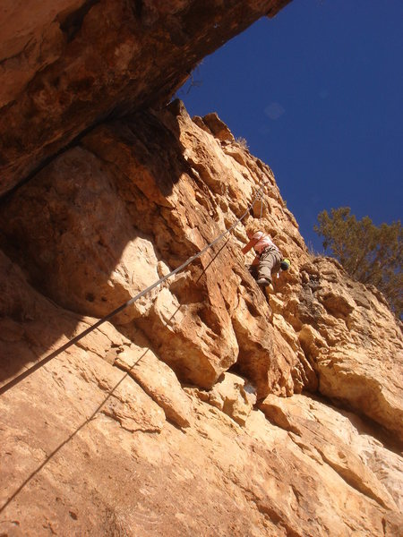 Eva climbing Poncho.
