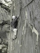 Rock Climbing Photo: Thin traverse beneath headwall and towards the top...