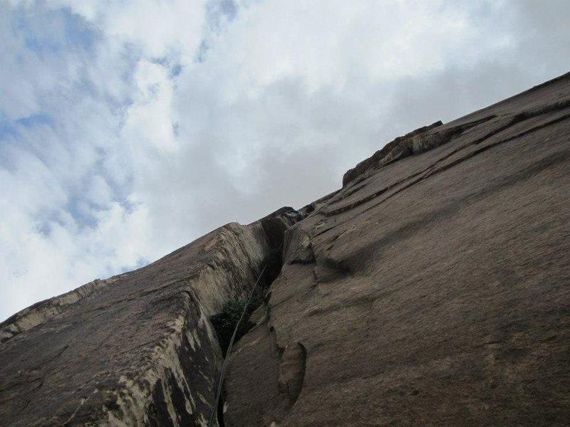Rock Climbing Photo: Chimney on pitch 3.